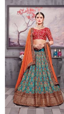 Turquoise Embroidery Lehenga With Contrast Blouse
